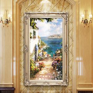 欧式手绘<span class=H>油画</span>定制地中海风景别墅客厅挂画过道壁画玄关竖版装饰画