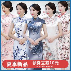 老上海<span class=H>旗袍</span>2019新款年轻少女日常复古连衣裙中长款气质优雅中国风