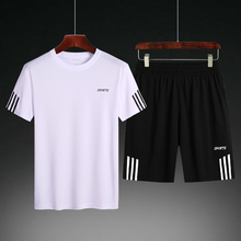 Summer Short-sleeved T-shirt Men's Large-Size Sports Suit Five-minute Pants Summer Korean Chao Brand Fast-drying Beach Pants Two-piece Suit