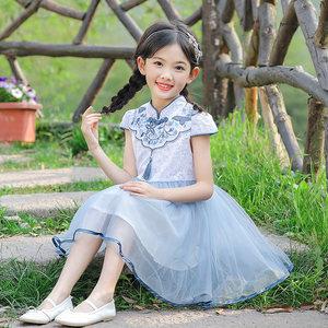 女童连衣裙夏装2019新款小女孩民族风<span class=H>旗袍</span>裙儿童网纱裙中国风裙子