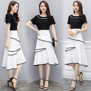 欧美大牌<span class=H>连衣裙</span>年夏季短袖中长款型韩版时尚休闲舒适高质量少女装