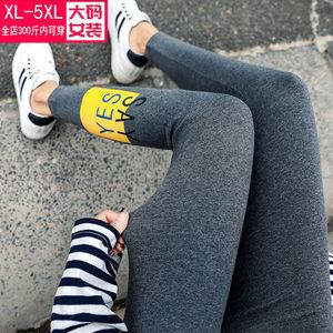 2019春秋新款加肥加大码<span class=H>女装</span>打底裤200斤胖MM印花高腰收腹小脚裤
