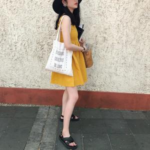 nana/ 18夏chic无袖可爱高腰<span class=H>芒果</span>色系带连衣裙 娃娃裙蓬蓬裙短裙