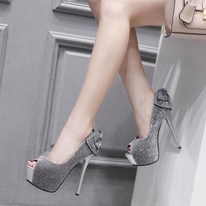 14CM细跟超高跟鞋春夏蝴蝶结夜场防水台鱼嘴单鞋性感银色亮片<span class=H>女鞋</span>