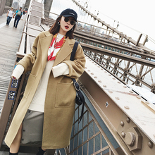 MONA mid-long double-sided Ni overcoat for women in autumn and winter 2018 new loose-waisted camel wool jacket