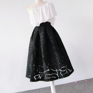 欧根纱植绒暗纹高腰显瘦<span class=H>蓬蓬裙</span>伞裙半身裙中长款春夏网纱纯黑女裙