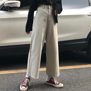 裤子2018韩版<span class=H>女装</span>新款宽松休闲<span class=H>阔腿裤</span>学生秋季高腰百搭九分直筒裤