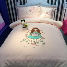 Cartoon Cotton Four-piece Cotton Sticker Embroidered Bed Sheet Cover for Boys, Girls and Children