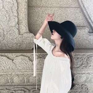 复古赫本黑色草帽遮阳帽防晒度假海边沙滩帽子女夏天大帽檐太阳帽