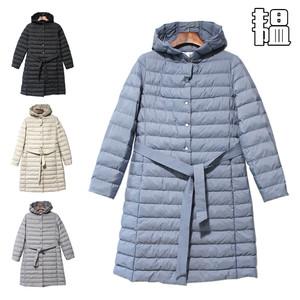 【特价】韫YUN冬女装中长款韩版修身系带连帽棉服气质保暖<span class=H>棉衣</span>
