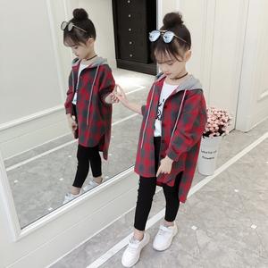 女童外套春秋装2019新款韩版女孩洋气<span class=H>开衫</span>潮衣儿童格子连帽外套