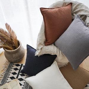 现代简约北欧风纯色棉麻双针<span class=H>抱枕</span>含芯家用客厅沙发靠垫卧室床头垫