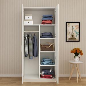 儿童<span class=H>衣柜</span>实木质简约现代经济型组装2门衣橱简易两门小型单人柜子