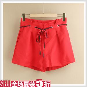 【海系列】专柜品牌折扣19新品夏穿孔系带收腰休闲红色女短裤H338