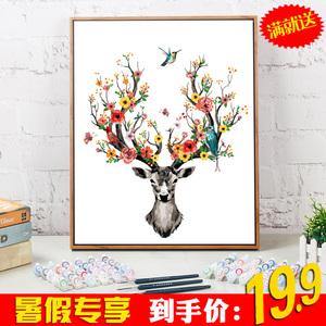 数字油彩画diy<span class=H>油画</span>客厅风景动物成人手绘填色减压手工装饰挂画鹿