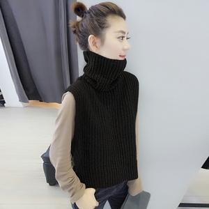 2018秋冬季新款欧洲站<span class=H>女装</span>欧货潮时尚高领毛衣背心马甲套头针织衫