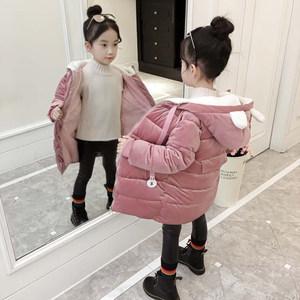 女童金丝绒棉袄2018新款羽绒棉服童装洋气冬装5外套儿童棉衣6岁潮