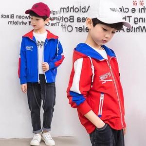 2019新款百搭童<span class=H>夹克</span>男童春装中大童儿童袖子拼接外套童装微商代发