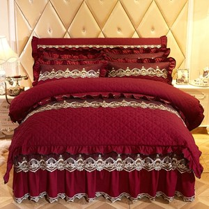 秋冬欧式夹棉加厚纯色床裙<span class=H>四件套</span>1.8m针织磨毛床罩五件套床上套件
