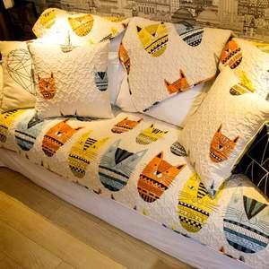 米色纸老虎北欧个性卡通全棉布艺沙发垫防滑盖巾套可定制