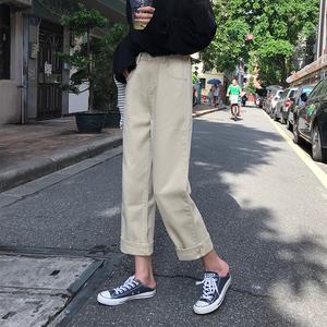 夏季2019新款学生牛仔裤<span class=H>女装</span>松紧腰九分裤长裤宽松网红高腰直筒裤