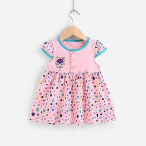 2女宝宝夏装女婴儿小<span class=H>裙子</span>0一1岁纯棉夏3女宝女童棉绸连衣裙人造棉