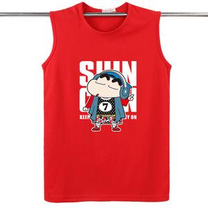 夏季无袖<span class=H>背心</span>男纯棉圆领宽松T恤加肥加大码卡通运动休闲弹力上衣