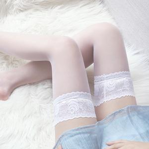 性感白色蕾丝长筒丝袜天生丝滑高筒蕾丝萝莉超薄透明丝袜情趣学生