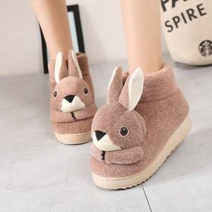 冬天棉<span class=H>拖鞋</span><span class=H>女鞋</span>子毛<span class=H>拖鞋</span>包跟月子棉鞋可爱兔兔加厚底防滑保暖大童
