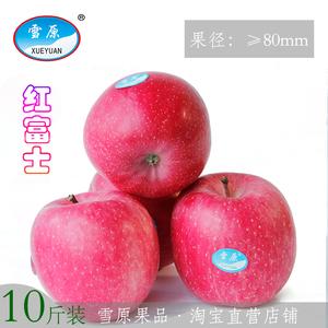 甘肃雪原红富士<span class=H>苹果</span>新鲜水果脆甜多汁冰糖心无蜡10斤整箱包邮代发
