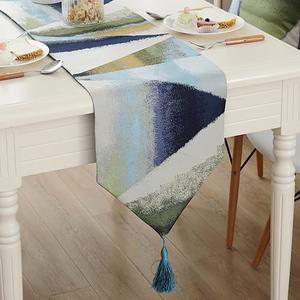 北欧<span class=H>桌旗</span>现代简约蓝色美式床旗床尾巾茶几餐桌巾装饰长条布<span class=H>桌布</span>垫