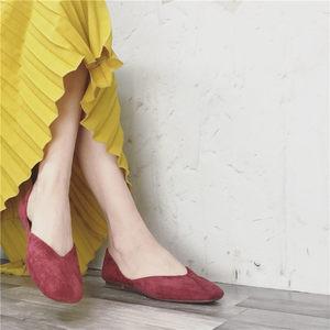 2019春秋chic方头<span class=H>单鞋</span>女杏色平底瓢鞋奶奶鞋浅口工作鞋软底孕妇鞋