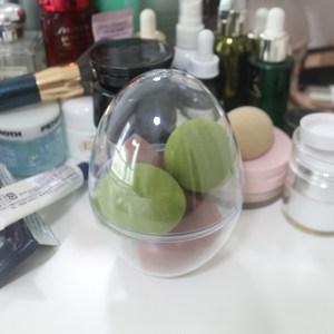 防尘透 粉扑收纳盒 旅行葫芦蛋圆筒塑料筒美妆蛋 粉扑包装盒