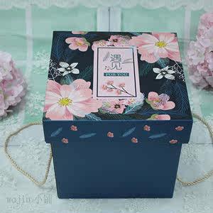 韩版加大花型<span class=H>礼盒</span>简约长方形女生牛皮纸碎花文艺首饰衣服紫色蓝色