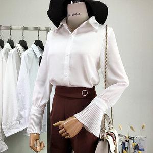 清新甜美翻领喇叭长袖纯色衬衫春新款气质淑女打底雪纺白衬衣上衣