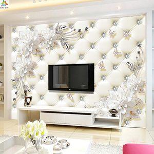 5D客厅电视背景墙壁纸仿软包壁画卧室床头背景墙墙布3D影视墙墙纸