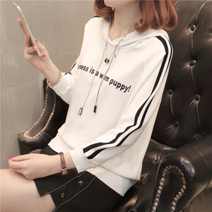 流行<span class=H>女装</span>春装新款韩版宽松字母冰丝针织衫时尚薄款带帽衫学生外穿