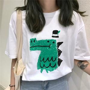 2018夏季<span class=H>女装</span>新款韩版学生宽松小恐龙印花可爱短袖T恤ulzzang上衣