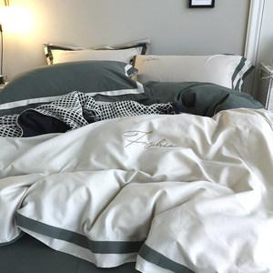 秋冬季简约纯色60支长绒棉磨毛<span class=H>四件套</span>纯棉轻奢北欧风裸睡床上用品