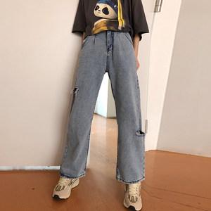 2019春夏季浅蓝色<span class=H>牛仔裤</span>女薄宽松破洞阔腿裤港味bf风chic直筒长裤