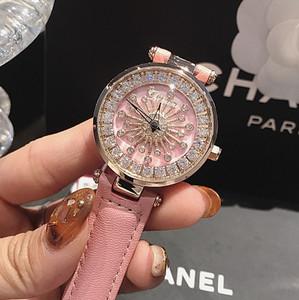 2019新款正品蒂米妮爆款<span class=H>手表</span>女真皮表带镶钻大气时尚时来运转女表