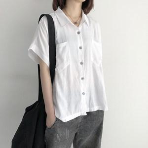 雪纺衬衫女韩版宽松大口袋蝙蝠袖纯色上衣夏季新款大码短袖衬衣潮