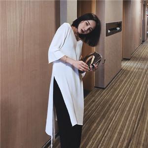 V领七分袖针织衫女2018夏装新款不规则设计感休闲开下洋气长<span class=H>罩衫</span>