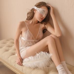 白玫瑰性感睡衣女秋冬睫毛蕾丝镂空诱惑吊带睡裙前扣开襟情趣内衣