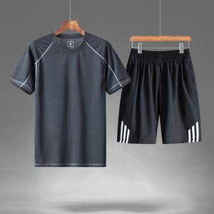 运动套装男中老年冰丝三条杠运动服夏装短袖夏天两件套爸爸装男装
