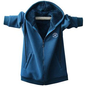冬季男士卫衣加绒加厚开衫连帽拉链外套加肥加大码胖子青少年保暖