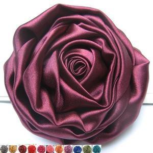 简约OL风 质感丝滑绸缎布艺韩版大花朵别针胸花<span class=H>胸针</span> 紫色酒红金色