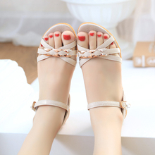 New Sweet Slope-heel Sandals for Women with Medium-heel, Thick-soled, Fish-mouth, Flat-soled, Comfortable and Skid-proof Women's Shoes in Summer of 2019