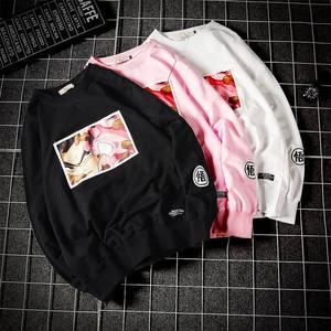 春季男士圆领<span class=H>卫衣</span>日系卡通潮流印花长袖t恤青少年宽松大码套头衫