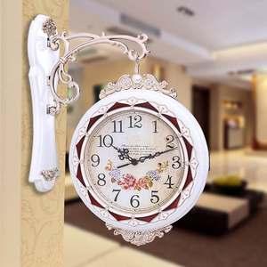 双面挂钟客厅时尚静音欧式家用创意大气钟表两面壁钟石英钟大<span class=H>挂表</span>